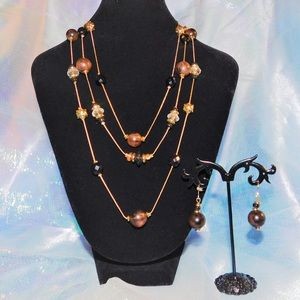 Gorgeous Brown Layered Necklace Set🤎